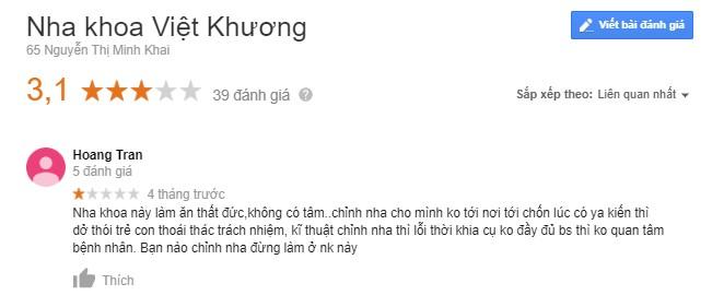 Nha khoa Việt Khương bảng giá như thế nào
